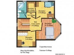 Plan etaj - Casa lemn Vicentiu