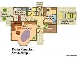 Plan parter - Casa lemn Jesy