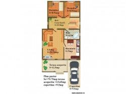 Plan parter - Casa lemn Raluca