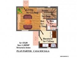 Plan parter - Casa de lemn Sociala