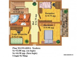 Plan etaj - Casa lemn Teodora