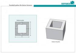 Fundatii pahar din beton Somaco - Vedere 3D si sectiune pentru pahar din beton