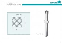 Stalpi prefabricati din beton Somaco - Vedere 3D si sectiune stalp