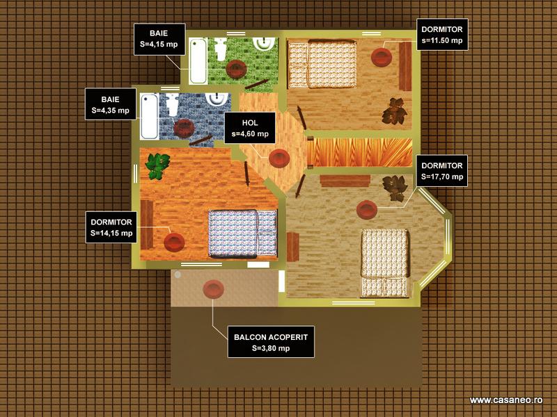 Casa lemn ILEANA - Plan etaj - Oferta lunii iulie - Casa lemn ILEANA - la