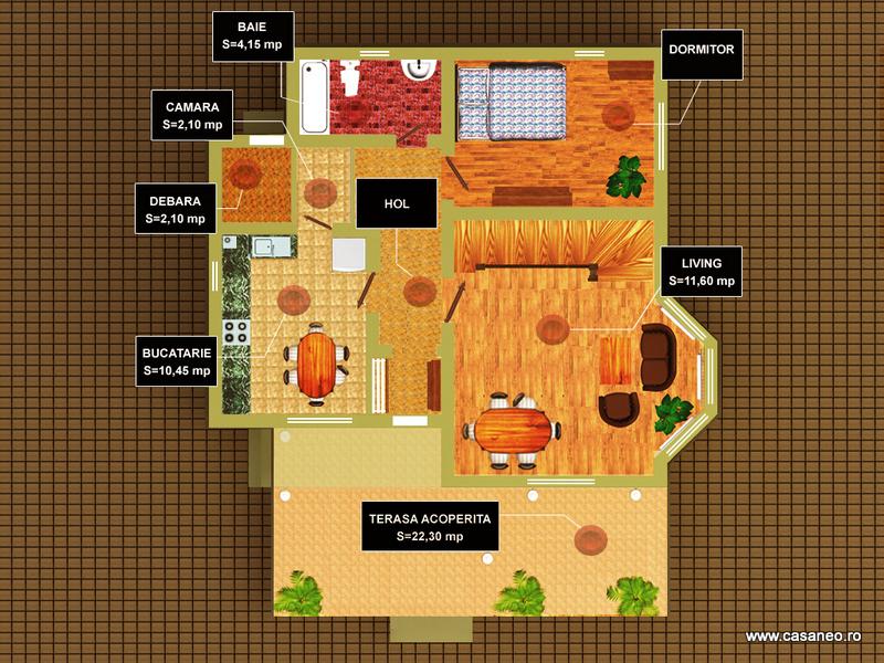 Casa lemn ILEANA - Plan parter - Oferta lunii iulie - Casa lemn ILEANA - la