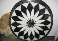 Medalion pentru pardoseala - Geometric  Black and White - Medalioane decorative pentru pardoseala - Diverse modele