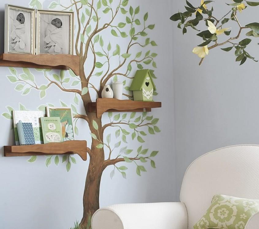 Copacul cu rafturi un proiect de efect creat de Pottery Barn Kids (www potterybarnkids com) -