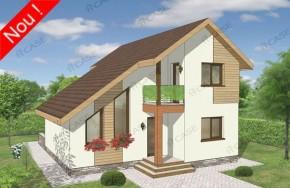 Proiect 2-020 - suprafata: 123 mp  - Proiect casa cu mansarda