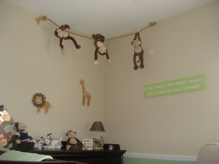 Jucariile pot fi atarnate si ele sub tavan (mai ales ca maimutele asta fac si in