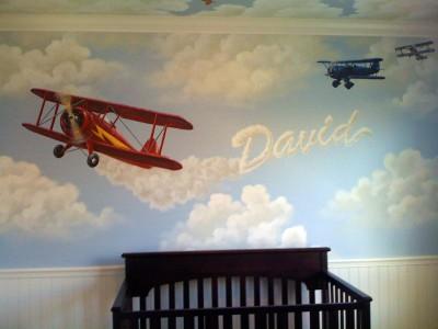 Autocoantele au un efect asemanator picturii (foto lovepaperpaint.com) - Pictura murala, autocolantele sau accesoriile suspendate de tavan creeaza o atmosfera specifica varstei