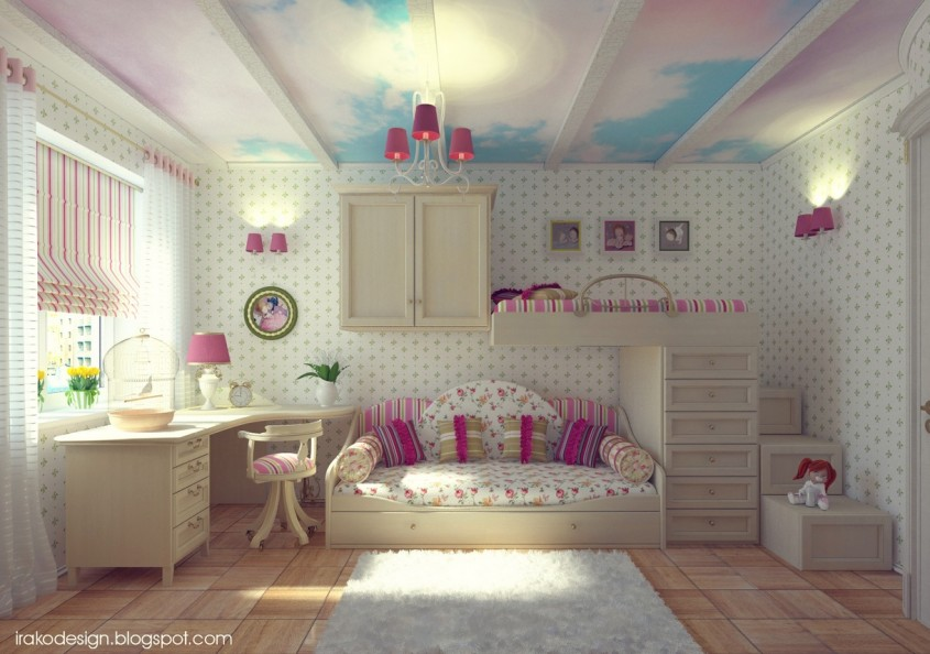 Cloud-ceiling-mural-girls-room - Un cer cu multi nori albi ofera de fapt mai multa luminozitate camerei (foto