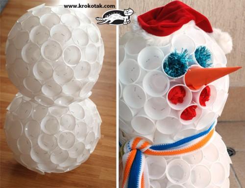 Se capseaza paharele pentru a se monta cele doua sfere una peste alta - Omul din pahare, pas cu pas (Sursa krokotak.com)