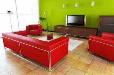 Foto via living-rooms.interiordezine.com - Interioare cu un design bazat pe combinatia rosu cu verde