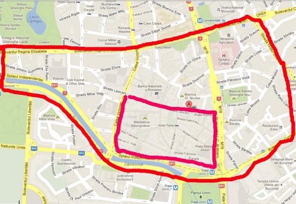 Cu rosu, perimetrul in care localurile ar trebui inchise la ora 22, cu roz, perimetrul cu program pana la ora 24 (imagine via Google Map) - Zonele care ar putea fi afectate de o decizie in favoarea inchiderii