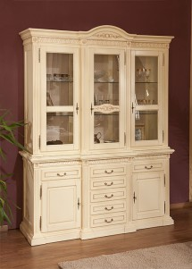 Bufet-vitrina 3 usi lemn masiv Venetia - Mobila sufragerie lemn masiv Venetia
