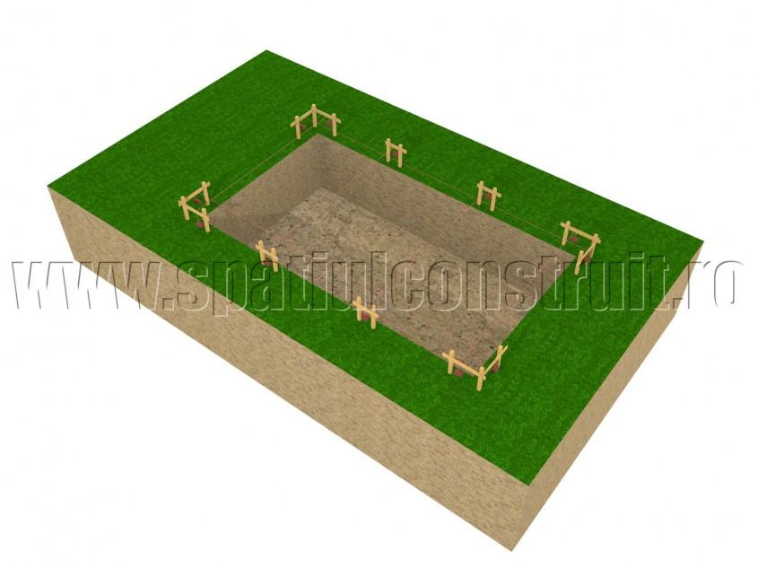 Sapatura pentru fundatie - Cota terenului sistematizat si sapatura pentru fundatie