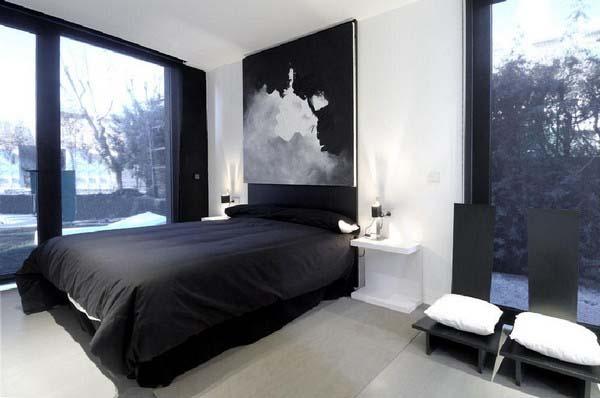 Foto via housepict com - Din bucatarie pana in dormitor si baie Combinatia alb-negru se potriveste