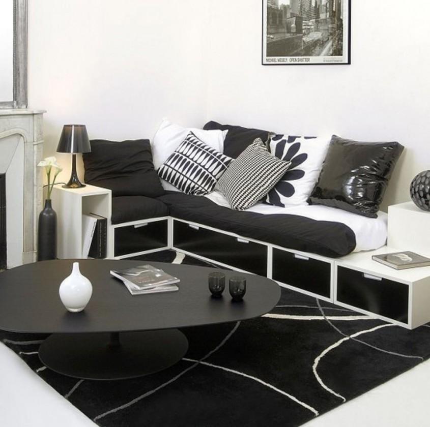 Foto rghomedesign com - Din bucatarie pana in dormitor si baie Combinatia alb-negru se potriveste in
