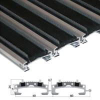 Stergator din aluminiu cu insertii din cauciuc EPDM si perii - Ares - Stergatoare de picioare