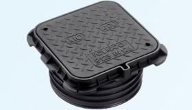 Capac pentru canalizare rama patrata, cu racord, clasa B125 - Capace pentru canalizare din material compozit