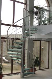 Scara din inox si sticla - Scari in spirala