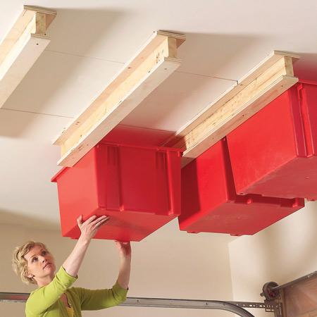 Depozitare sub tavanul garajului - Cinci idei de depozitare si organizare
