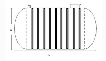 Rezervor orizontal ingropat - schema - Rezervoare subterane din fibra de sticla
