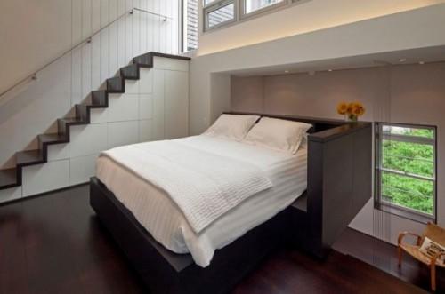 Un dormitor deschis, dar protejat - Cum poate fi proiectat un apartament pe nivele. Manhattan