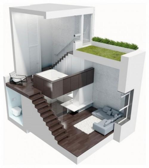 Vedere 3D a apartamentului - Cum poate fi proiectat un apartament pe nivele. Manhattan