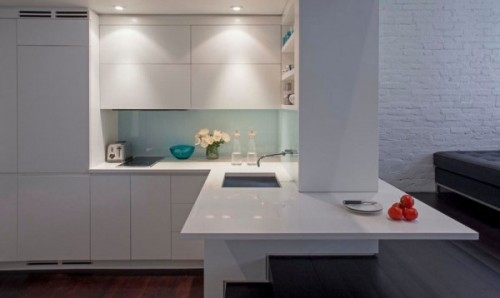 Bucataria - Cum poate fi proiectat un apartament pe nivele. Manhattan