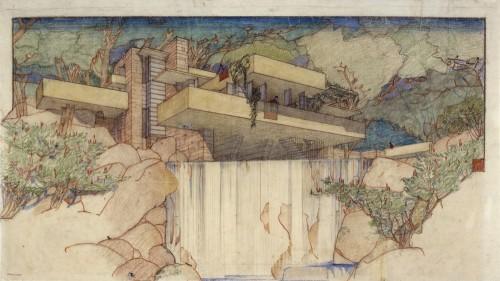 Fallingwater Edgar J. Kaufmann House, Mill Run, PA. 1934-37. Arhivele Frank Lloyd Wright Foundation (Muzeul de Arta Moderna Avery Architectural, New York - Trecutul se confrunta cu mai multa munca, migaloasa, cu tusul si culorile, dar proiectele chiar erau niste opere de arta