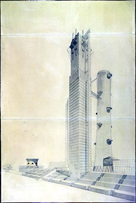 Ivan Leonidov, proiect pentru Comisariatul de Industrie Grea, Piata Rosie, Moscova, 1934  - Trecutul se confrunta cu mai multa munca, migaloasa, cu tusul si culorile, dar proiectele chiar erau niste opere de arta