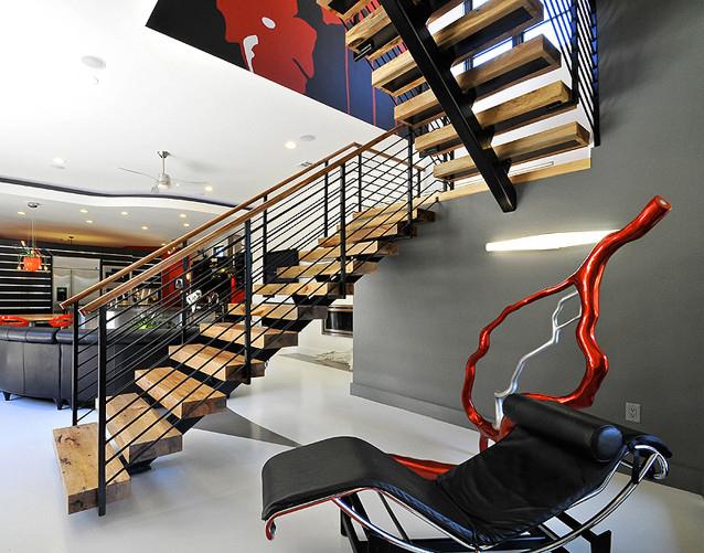 Scari Panache Interiors - Scari din lemn, pe vang de metal
