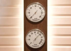 Higro-Termo Metru - Confectionat din lemn de frasin afumat si inox - Accesorii pentru saune - TYLO