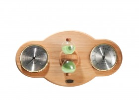 Placa din lemn de fag, pe care sunt fixate higrometru, termometru si o clepsidra pentru sauna - Accesorii pentru saune - TYLO