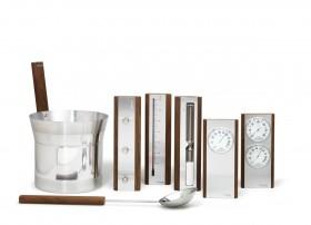 Set de accesorii din aluminium cu detalii din lemn de culoare inchisa - Accesorii pentru saune - TYLO