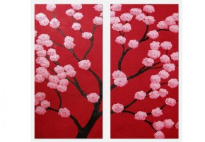 Tablouri set dual view - copaci cires oriental  - Tablouri set