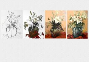 Tablouri set dual view flori pictate - lectia de pictura in 4 pasi - Tablouri set