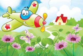 Tablouri copii dual view - avionul vesel  - Tablouri pentru copii