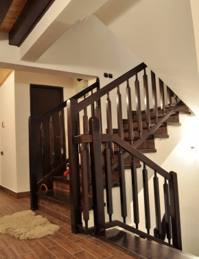 Trepte si Balustrada din lemn culoare wenghe - Scara din beton - Placari cu lemn pentru scari din beton - TURSO HOLZ