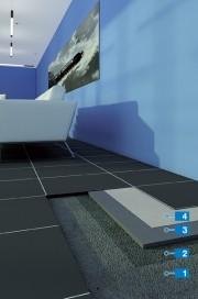 Sistem de montaj al pardoselilor realizate din dale din PVC  pe suport denivelat cu umiditate reziduală crescută