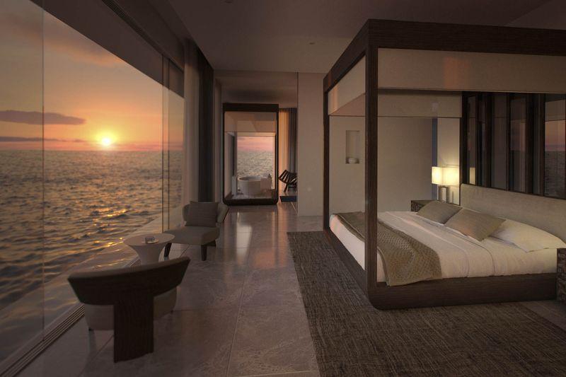 Privelistea este impresionanta si din dormitoarele situate deasupra nivelului oceanului.