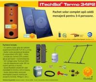 Pachet solar (kit) complet apa calda menajera pentru 3-4 persoane - ITechSol® Termo 34P2