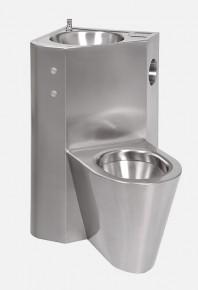 Combinatie de lavoar si vas WC din otel inox cu butoane piezo - SANELA SLWN 18LP