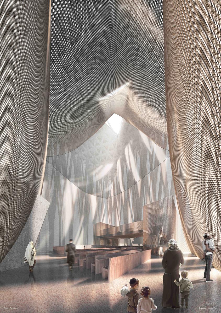 Randare a interiorului sinagogii