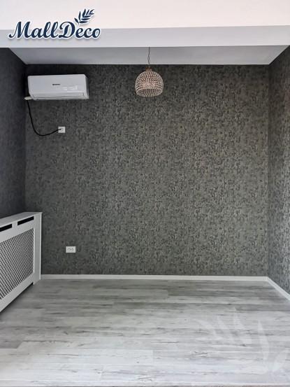 Aspectul camerei dupa tapetare cu tapet MallDeco - Merlen Gri  Bucuresti TOP RESERVE BUSINESS