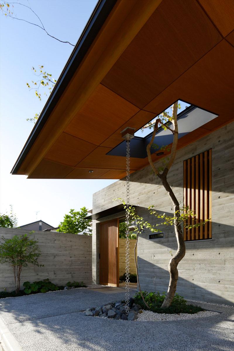 Mai multe lanturi atarna de la nivelul acoperisului si dirijeaza apa la radacina copacului.