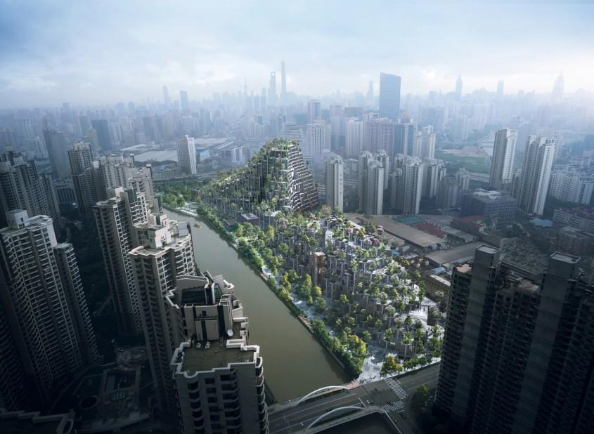"""1000 Trees, Shanghai  Comparat deja cu Gradinile suspendate din Babilon, vastul proiect 1000 Trees (1000 de arbori) este construit in prezent in Shanghai, luand """"forma a doi munti acoperiti de arbori, populati de mii de coloane"""", in cuvintele celor de la biroul londonez Heatherwick Studio. Arhitectii au decis sa nu ascunda coloanele structurale, care se inalta pe fatadele cladirii asemenea unor jardiniere uriase. Nu exista inca un anunt oficial cu privire la data finalizarii constructiei, insa cateva imagini recente de pe santier indica faptul ca ar putea fi gata in a doua parte a anului."""