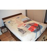 Mobila dormitor M005 - Pat cu saltea si doua noptiere