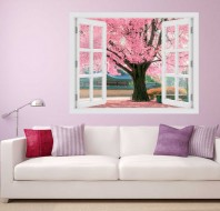 Fereastra cu efect 3D - Pink tree - 119x93 cm